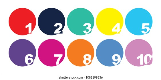 Collection of number icons for 1 - 10