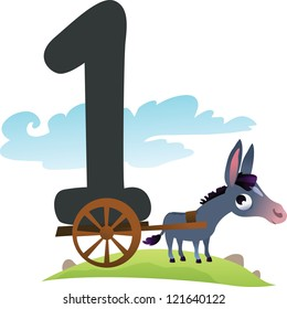 Collection number for kids: farm animals - number 1, donkey