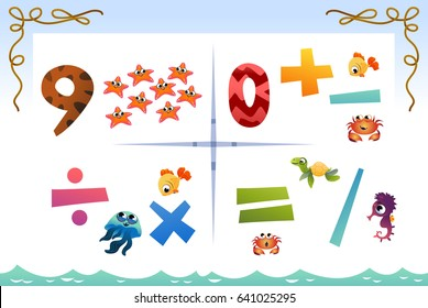 Collection number for kids: Sea animals. Vector illustration