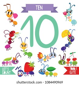 Collection of numbers with animals.From 1 to 10- Set for kids learning to count and to write.