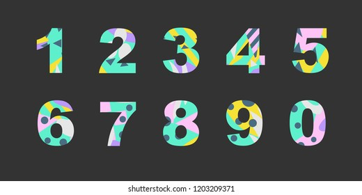 Collection of numbers with bright abstract texture. Good for any printed products, textile, invitation for a holiday and other types of design.