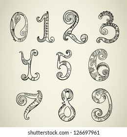 Collection of numbers, hand-drawn paisley design