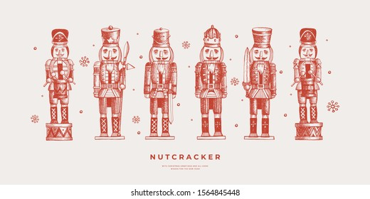 Collection of Nutcracker soldiers. Traditional wooden toys in engraving style. Retro decor for the Christmas holiday. Happy New Year vacations. Vector seasonal illustration.
