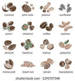 collection of nuts and seeds icons