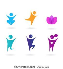 Collection o human icons - yoga and sport. Set of yoga icons.