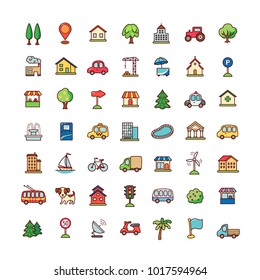 Collection of objects and symbols for city lifestyle. Set of cartoon icons isolated on white background.