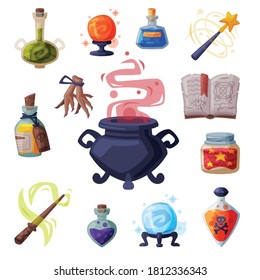 Collection of Occult Magic Objects for Mystic Rituals, Witchcraft Equipment, Cauldron, Book, Bottle of Magical Potion, Wand, Cartoon Style Vector Illustration