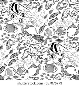 Collection of  ocean fish drawn in line art style on white background. Vector seamless pattern. Coloring book page design for adults and kids