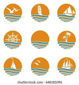 Collection of ocean logos with waves and sun. Vector illustration