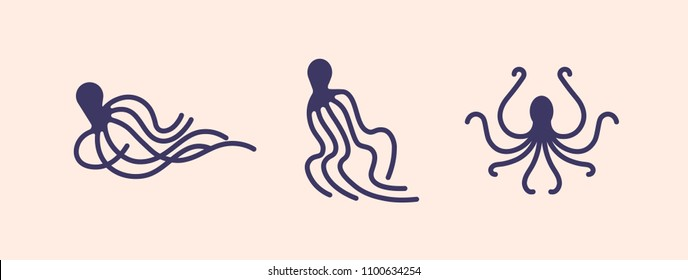 Collection of octopus silhouettes isolated on light background. Set of marine animal or mollusc with tentacles in various poses. Sea creature, underwater inhabitant. Vector illustration for logotype