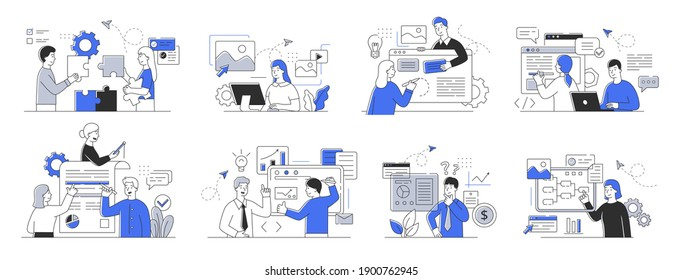 Collection of office scenes. Workflow concept. Men and women taking part in business discussion, presentation, brainstorming, talking to each other. Set of simple style outline vector illustrations