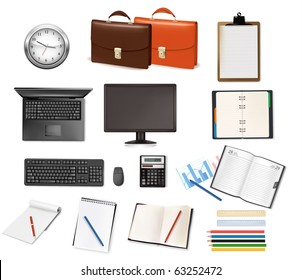 Collection of office supplies. Vector.