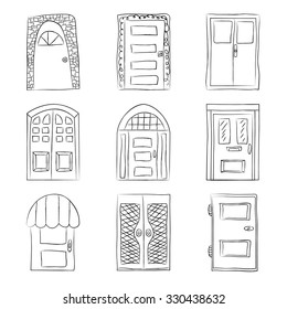 Collection of old door icon, isolated illustration vector. Set with close up wooden door. Simple design