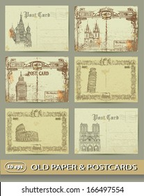 collection of old postcards, european cities, old paper