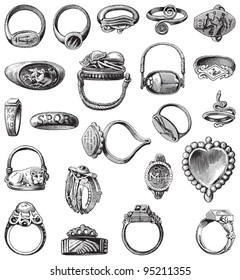 Collection of old rings / vintage illustration from Meyers Konversations-Lexikon 1897