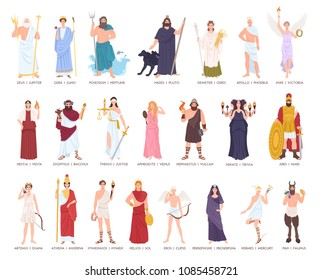 Collection of Olympic gods and goddesses from Greek and Roman mythology, mythological creatures. Male and female cartoon characters isolated on white background. Flat colorful vector illustration