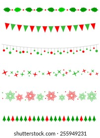 Collection on christmas borders / divider graphics including holly border, bulbs / lights pattern, christmas trees snow and stars
