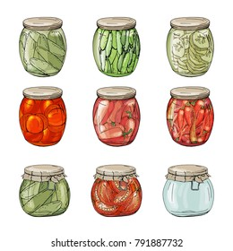 Collection on different glass jars with home made vegetables. Hand drawn objects isolated on white