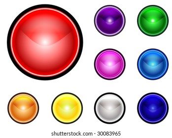 Collection on spherical colorful buttons