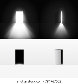 Collection of open doors in a dark room with light going through it.