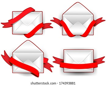 Collection of open and sealed envelopes with red ribbons.