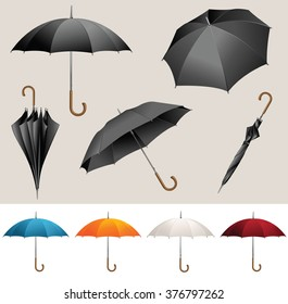 Collection of opened, folded, top view vector black umbrellas