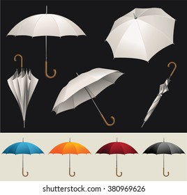 Collection of opened, folded, top view vector umbrellas