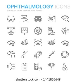 Collection of ophthalmology related line icons. 256x256 Pixel Perfect. Editable stroke