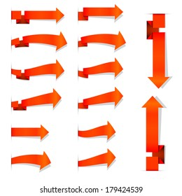 Collection of the orange arrows on the white background