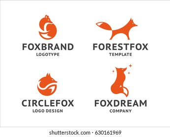 Collection of orange fox logos, emblem, illustration in a minimalist style