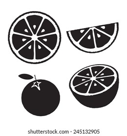 Collection of oranges, icons set, black isolated on white background, vector illustration.