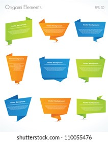Collection of origami speech bubble vector background