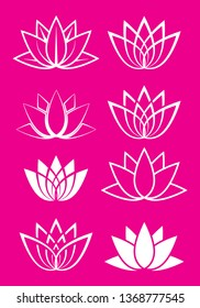 Collection of original artistic lotus plant icons in different styles - outline, flat or stroke. Eps 10 vector illustration.