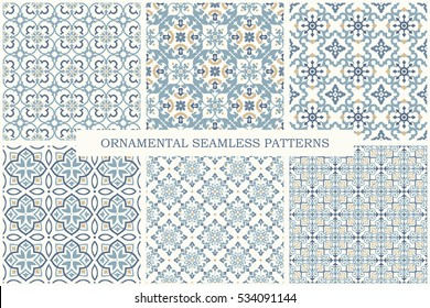 Collection of ornamental seamless patterns. Set of arabic retro tiled vector backgrounds.