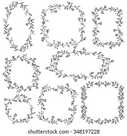 Collection of ornamental vector floral frames