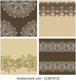 collection of ornamental vintage floral background with decorative flowers for your design, template frame pattern set for card
