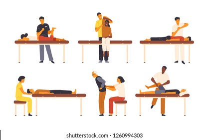Collection of osteopaths performing treatment manipulations or massaging their patients. Set of specialists in osteopathy, chiropractic or manual therapy. Vector illustration in flat cartoon style.