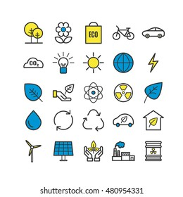 Collection of outline ecology icons. Linear eco icons for web and mobile apps