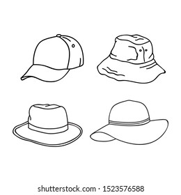 collection of outline hat design isolated white background