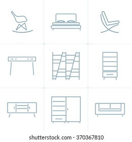 Collection of outline modern furniture symbols and icon. Elements of interior. Template for design. Vector illustration. Isolated