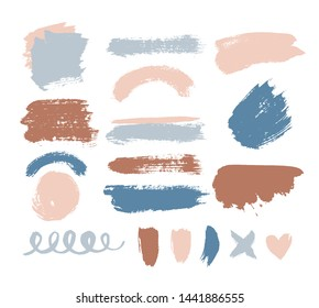 Collection of paint, ink brush strokes, smudges, brushes, lines, grungy. Dirty, grunge artistic design elements, boxes, frames. Vector design elements. Hand drawn illustration