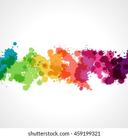 Collection of paint rainbow splash drops. Bright and colorful banner. Vector set of brush strokes.