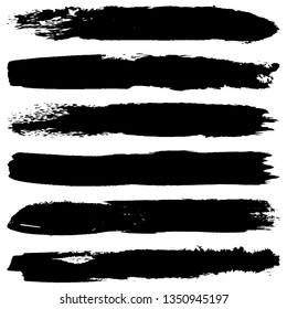 Collection of paint strokes vector. Abstract black spots on white background