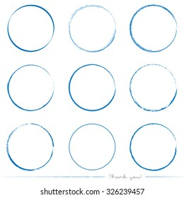 Collection of painted circle vectors with different tools like brushes, chalk, ink, pen. Blue grungy circle shapes isolated on white background.