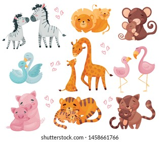 Collection of pairs of animals. Mom and baby. Vector illustration on white background.