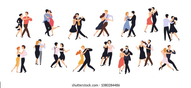 Collection of pairs of dancers isolated on white background. Men and women performing dance at school, studio, party. Male and female cartoon characters dancing tango at Milonga. Vector illustration