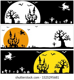 collection of panorama backgrounds with dark castle and witch in front of full moon with scary illustrated elements for Halloween layouts
