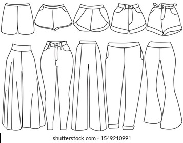 Collection of pants for women, vector drawing illustration. Different styles of jeans, shorts, formal work pants, loose pants, isolated on white background.