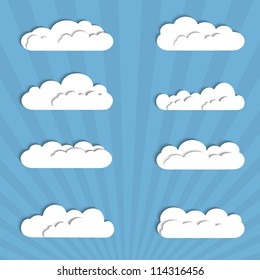 Collection of paper clouds. Vector illustration
