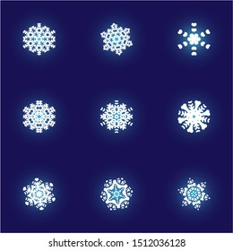 Collection of paper cut isolated snowflakes on blue background.  Cool concept accurate forms and colors. Vector illustration overlays. White new year and xmas modern trend design elements.